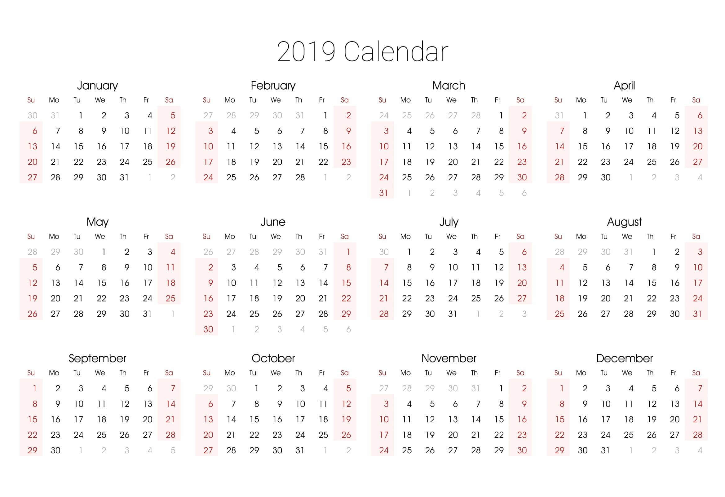 Pick 2020 Free Year At A Glance Printable | Calendar with regard to Blank Year At A Glance Calendar