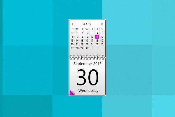 Pink Calendar Windows 10 Gadget  Win10Gadgets regarding Windows 10 Calendar Widget