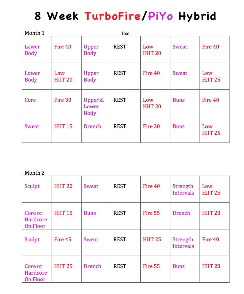 Piyo 8 Week Calendar | Calendar Printables Free Templates for Printable Piyo Calendar