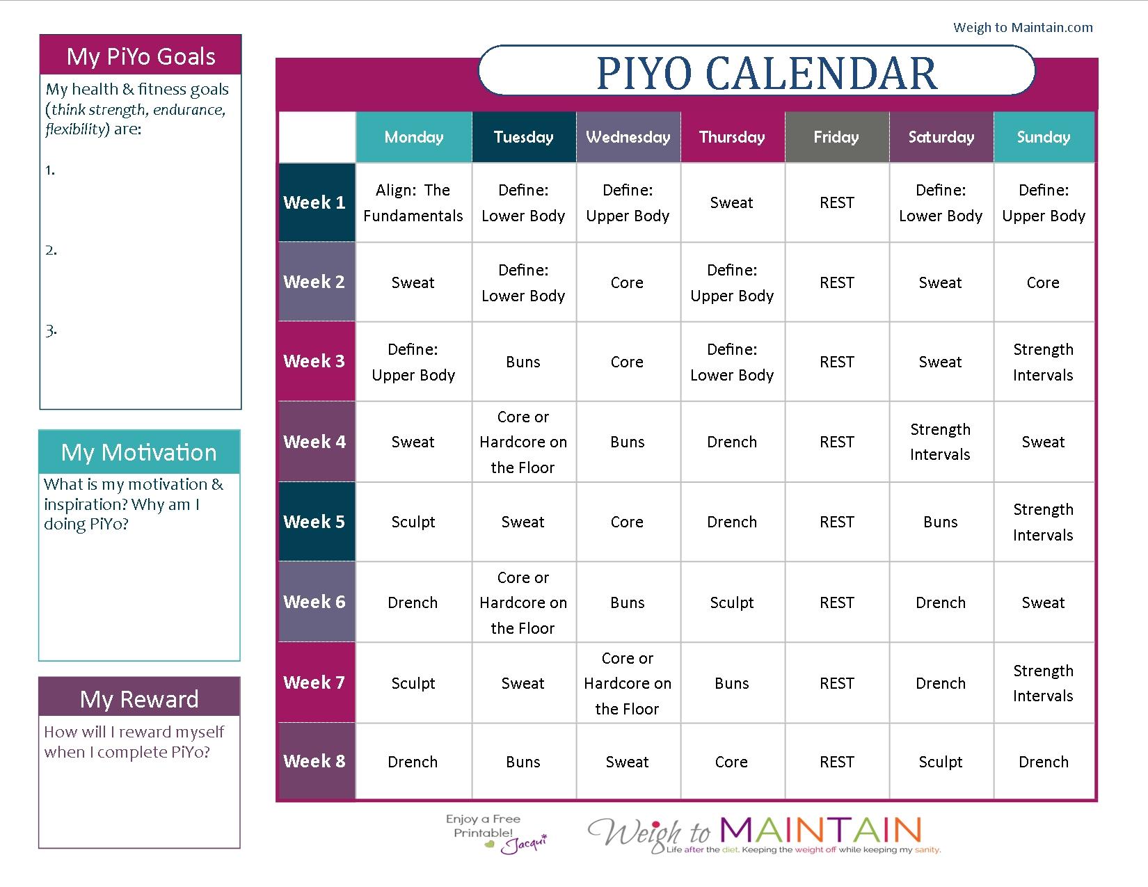 Piyo 8 Week Calendar | Ten Free Printable Calendar 20202021 pertaining to Piyo 21 Day Fix Hybrid Calendar