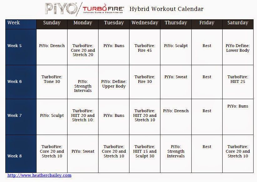 Piyo And Turbofire Hybrid Calendar | Turbo Fire, Piyo with regard to Printable Piyo Calendar