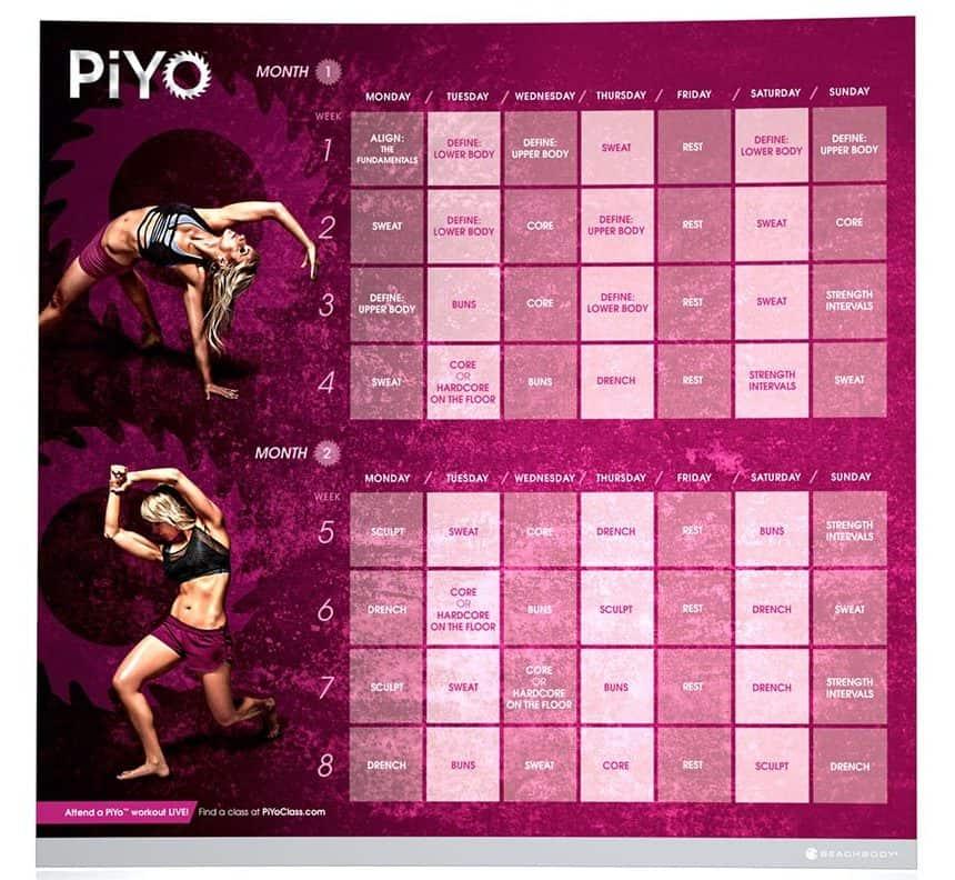 Piyo Reviews Workouts Schedule Results in Printable Piyo Calendar