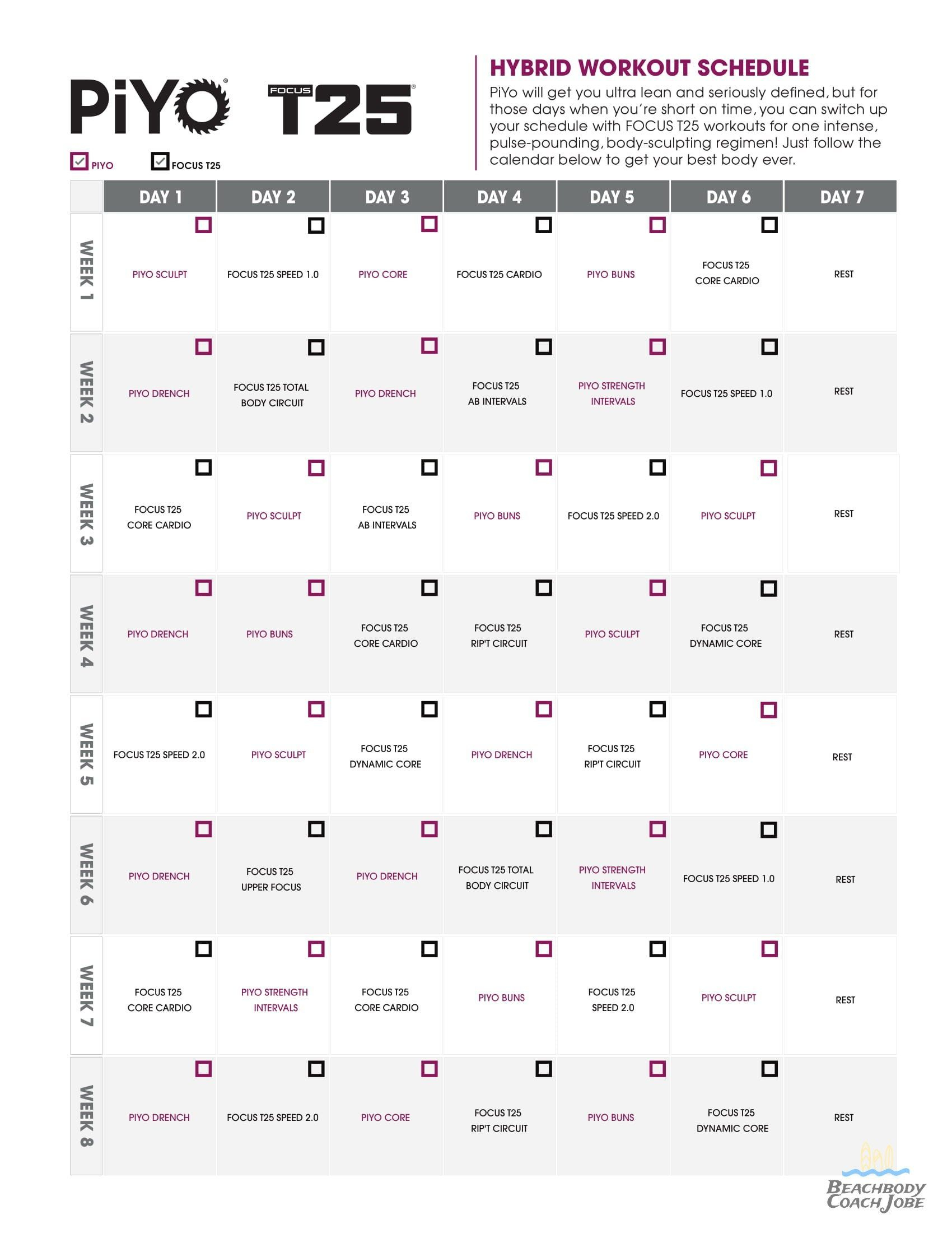 Piyo & T25 Hybrid Calendar By Beachbody Fitness Program In with regard to Printable Piyo Calendar