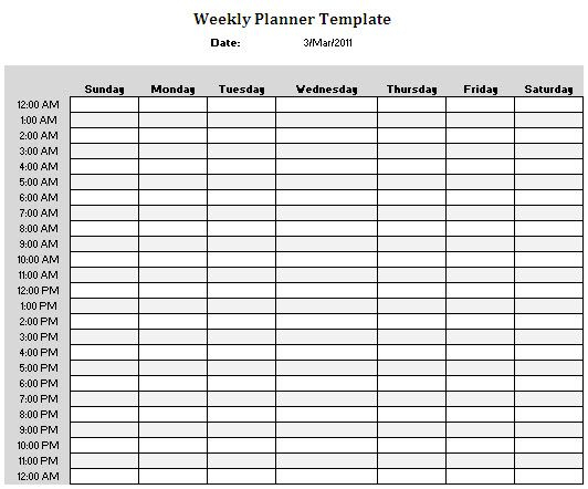 Planner Templates | Weekly Planner Template, Hourly regarding Am Pm Schedule Template