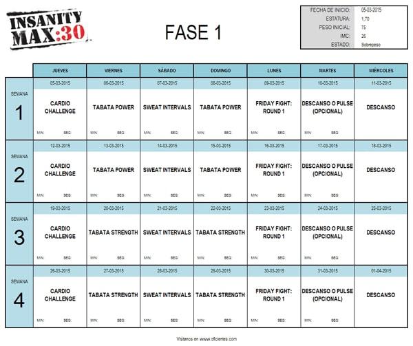 Plantilla De Excel: Calendario Insanity Max:30 Ejercicios intended for Printable Insanity Max 30 Calendar