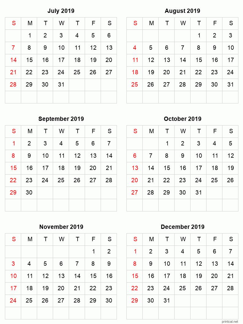 Printable 2019 Calendar  Six Months Per Page | Free within 6 Month Printable Calendar