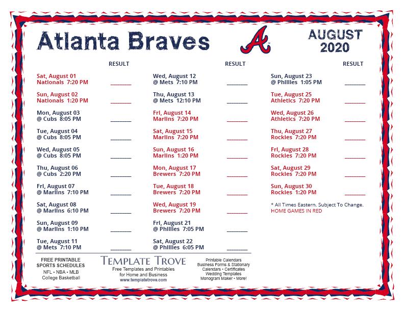 Printable 2020 Atlanta Braves Schedule for Atlanta Braves Schedule Calendar