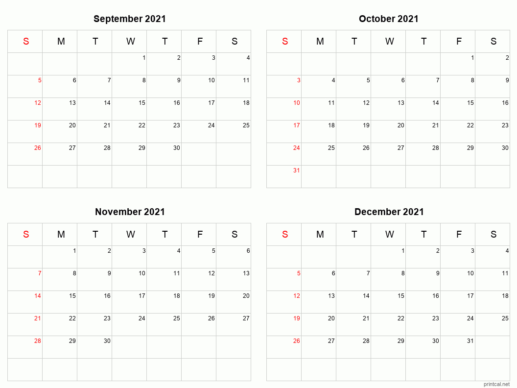 Printable 2021 Calendar  Four Months Per Page | Free intended for 3 Month Printable Calendar Templates 2021 Sept