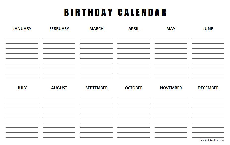 Printable Birthday Calendar Template  Birthday regarding Birthday Calendar Template For Classroom
