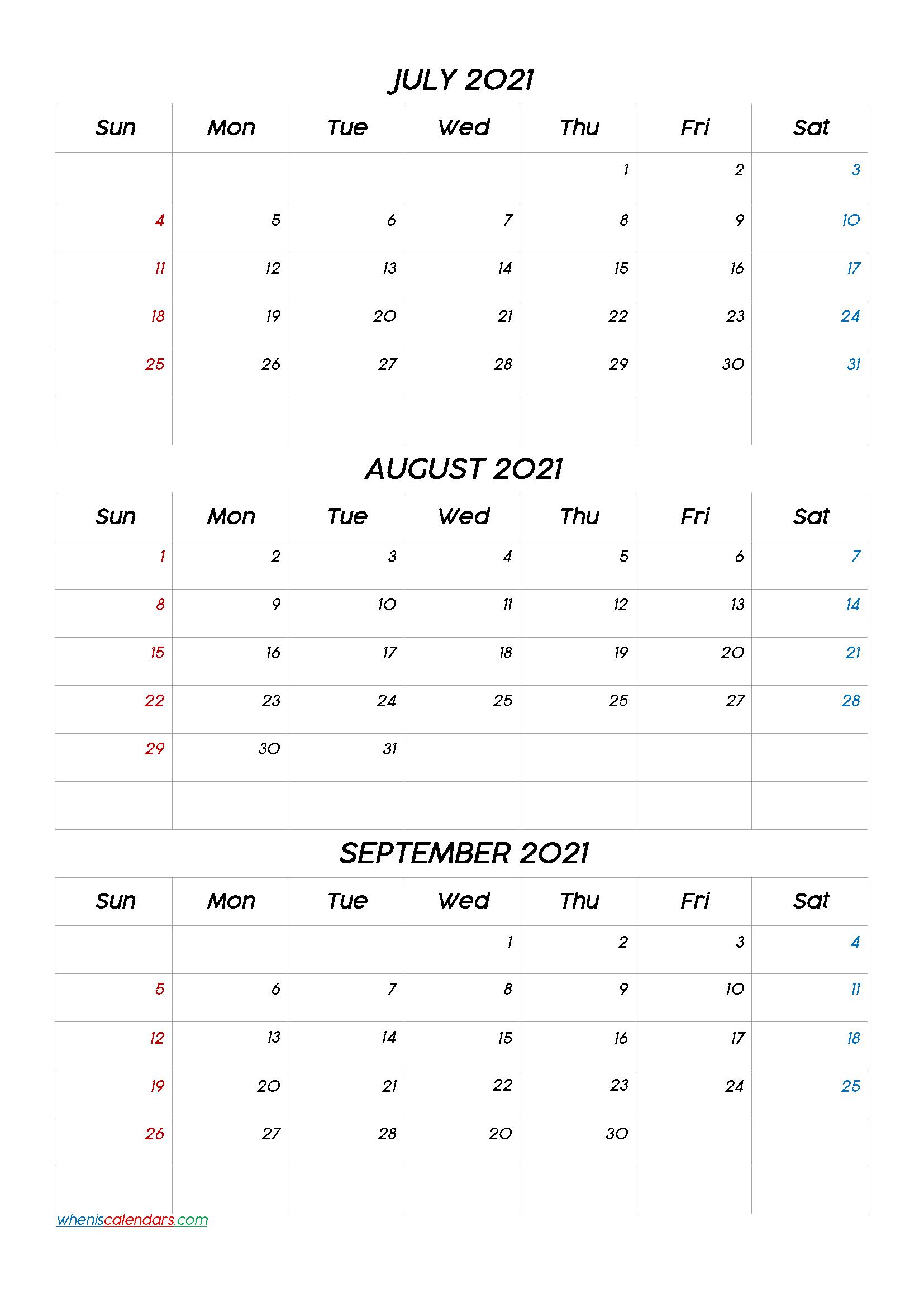 Printable Calendar January February March 2021 [Q1Q2Q3 in 3 Month Printable Calendar Templates 2021 Sept