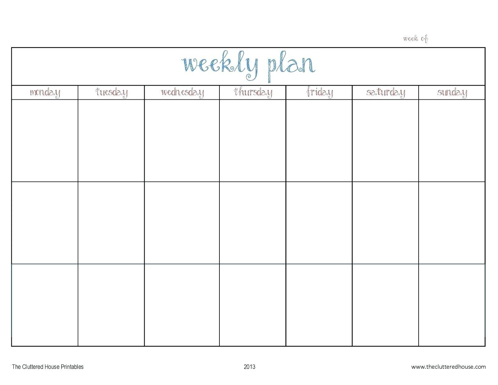Printable Calendar Monday Through Friday | Example in Printable Monday Through Friday Calendar