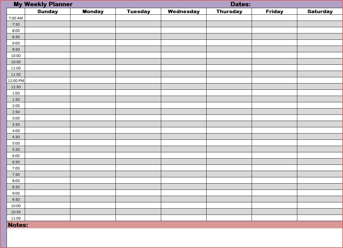 Printable Daily Calendar With Time Slots  Calendar for Free Weekly Calendar Template With Time Slots