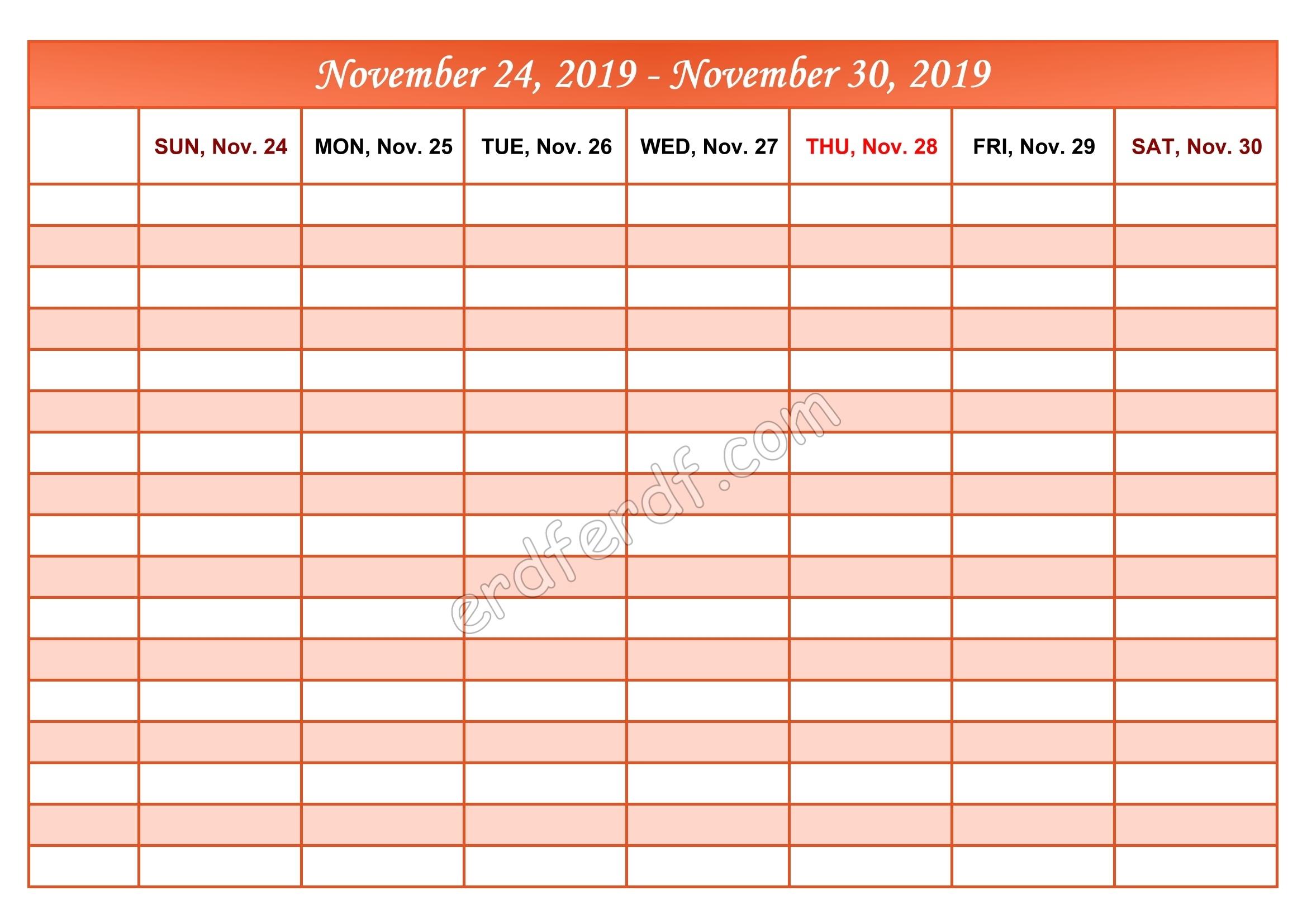 Printable Daily Calendars With Time | Printable Calendar for Weekly Calendar With Time Slots Printable Free