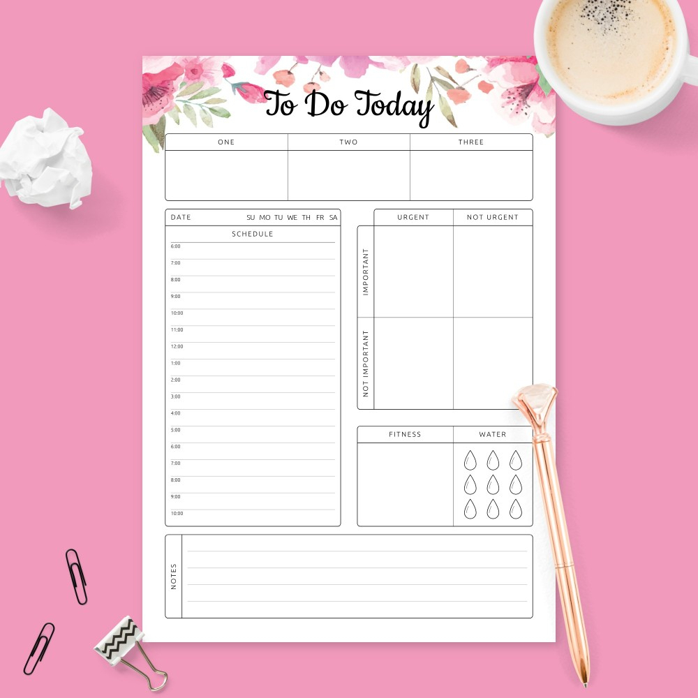 Printable Daily Planner Templates And Day Planners Pdf pertaining to Free Daily Calendar Template