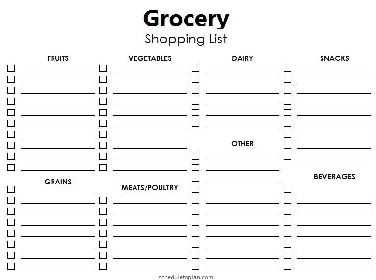 Printable Grocery List Template  Blank Shopping List throughout Blank Shopping List Template