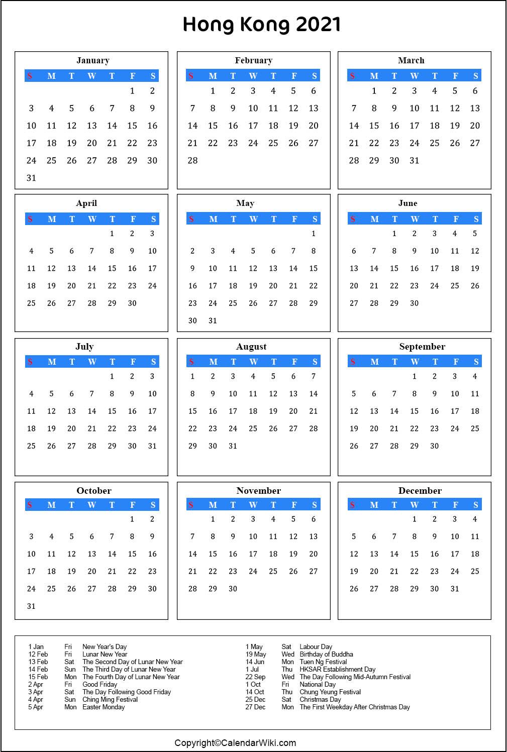 Printable Hongkong Calendar 2021 With Holidays [Public pertaining to Important Awarness Dates 2021 Australia