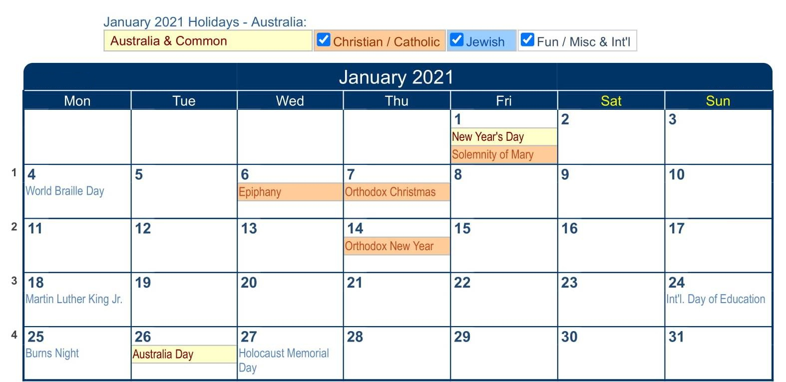 Printable January 2021 Calendar Template Images  Set Your with Important Awarness Dates 2021 Australia