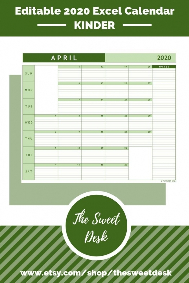 Printable Lined Monthly Calendar 2020 | Free Letter Templates throughout Quarterly Calendar Excel
