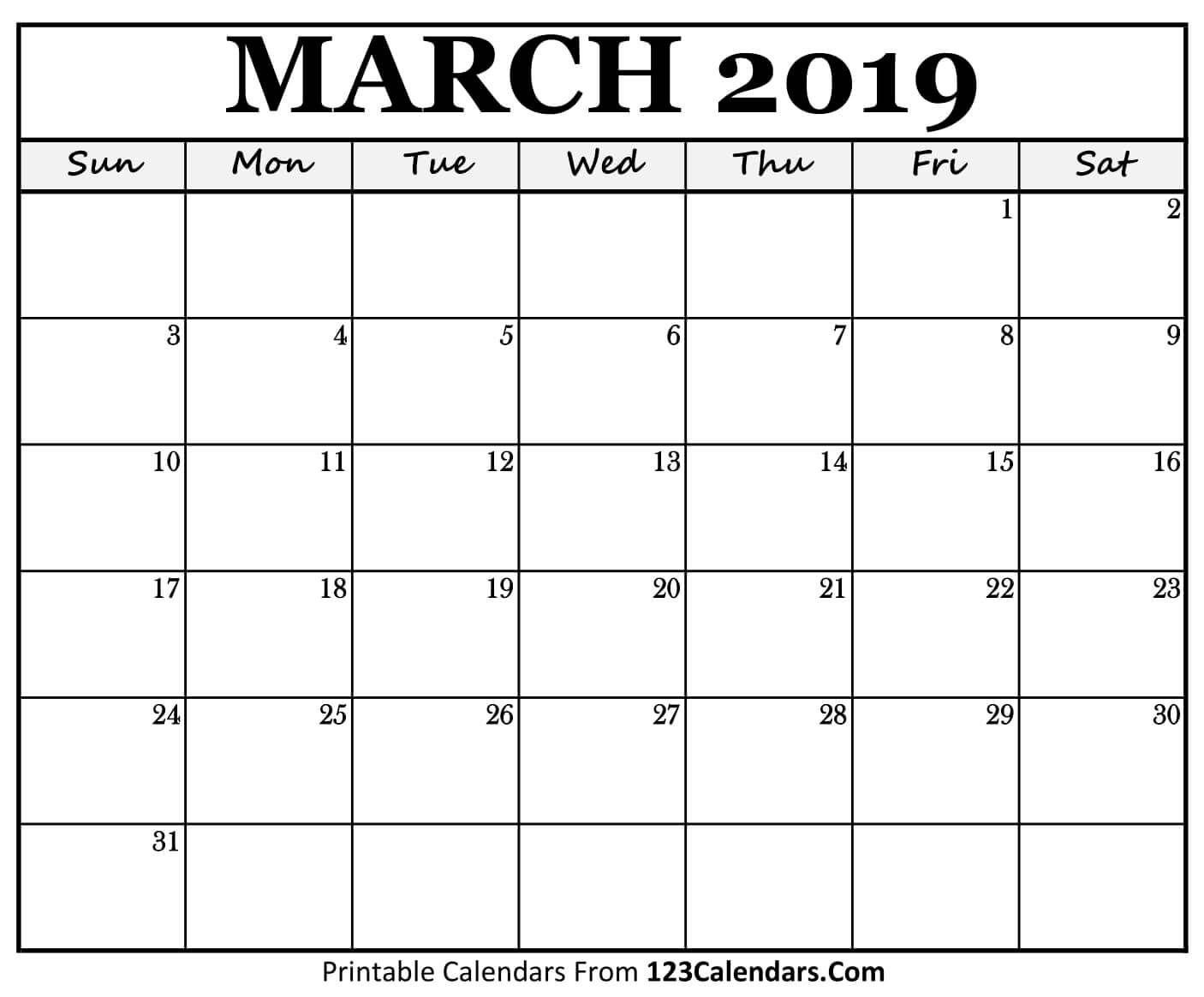 Printable March Month Calendar 2019 | Calendar Printables intended for 4 Month Printable Calendar