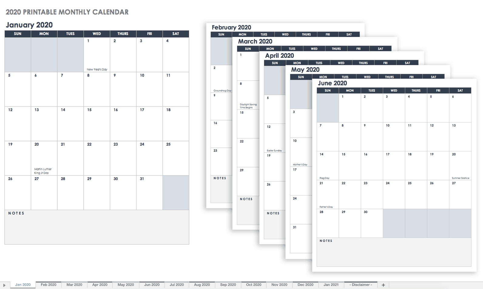 Printable Monthly Calendar Sunday To Saturday No Dates in Calendar Sunday To Saturday
