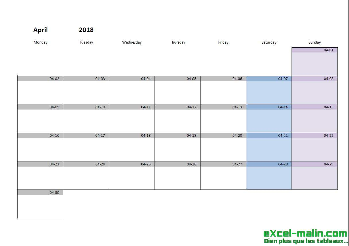 Printable Monthly Calendar Template For Excel | Excel throughout Quarterly Calendar Excel