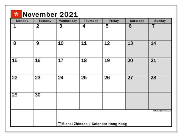 "Printable November 2021 ""Hong Kong"" Calendar  Michel regarding 2021 Calendar Hong Kong"