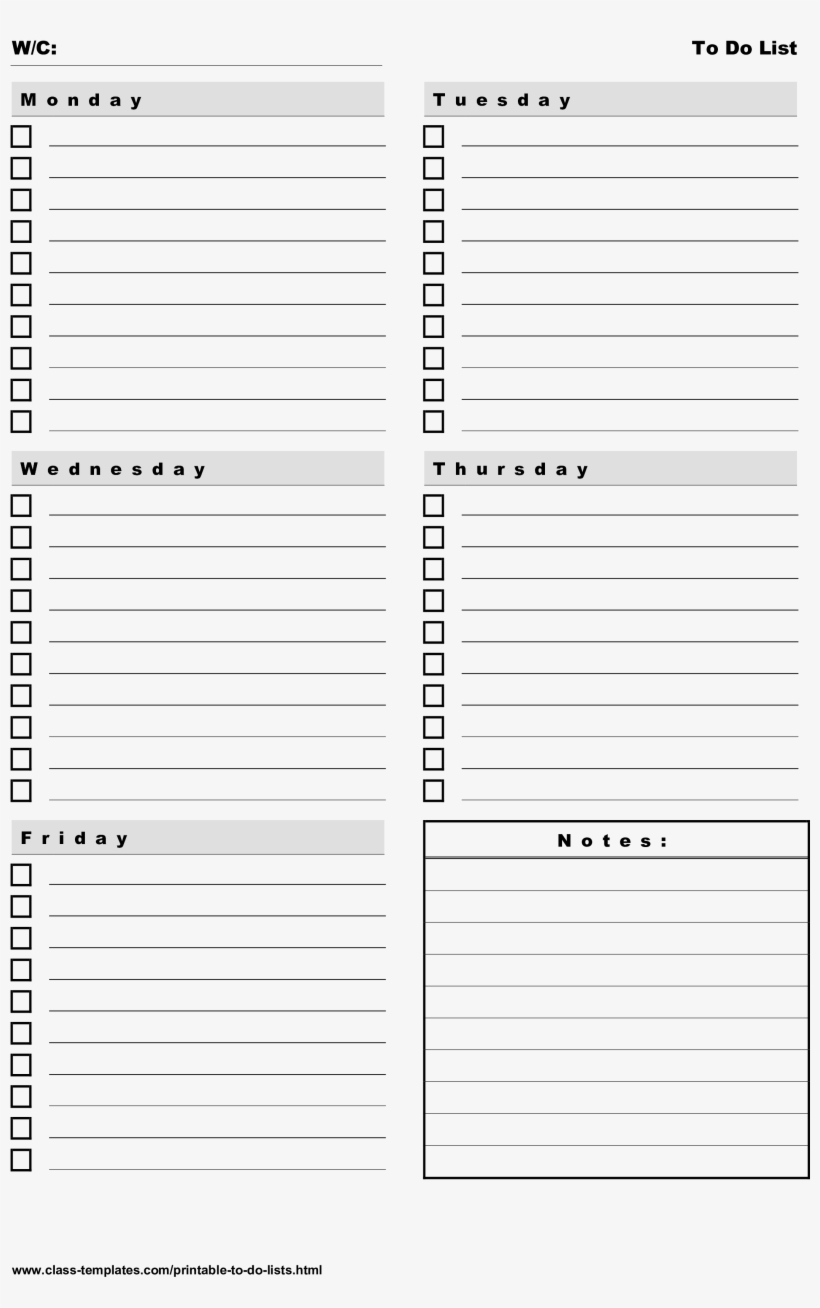 Printable To Do List 5 Days Weekly Plan Main Image  Do for Blank Calendar 5 Day Week