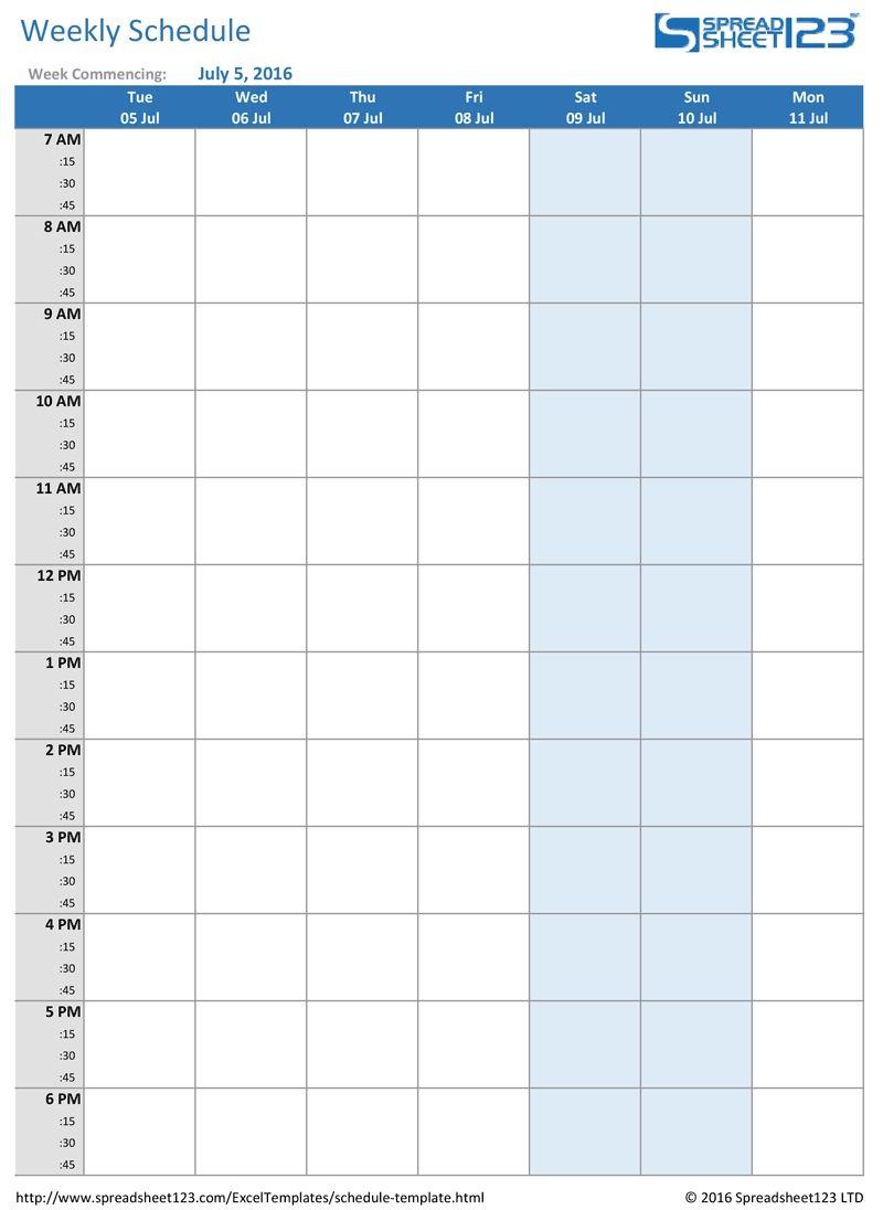Printable Weekly And Biweekly Schedule Templates For Excel with Weekly Class Schedule Template