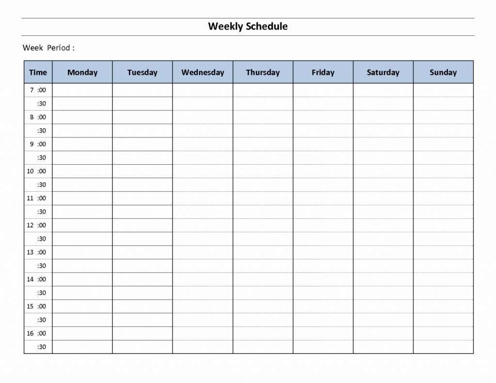 Printable Weekly Calendar Template With Time Slots inside Free Weekly Calendar Template With Time Slots