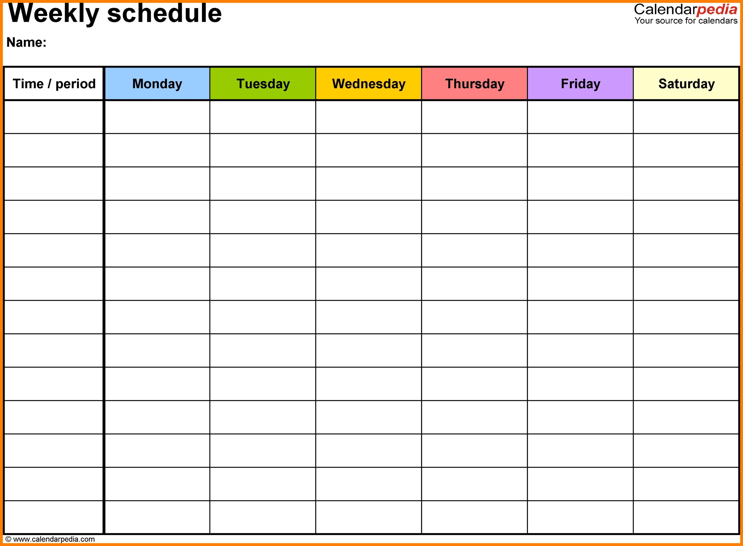 Printable Weekly Calendar With Time Slots  Calendar for Printable Weekly Planner With Time Slots