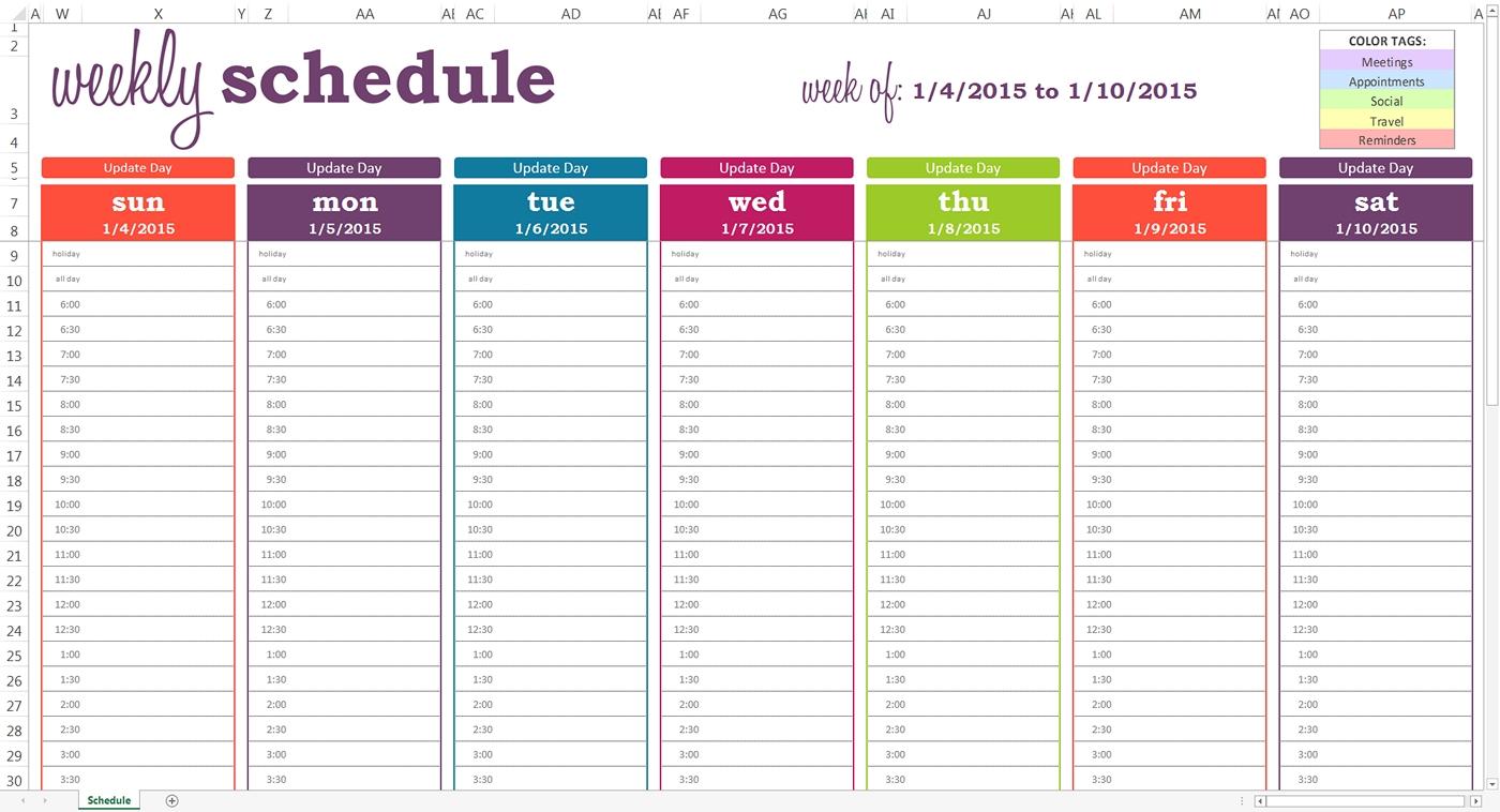 Printable Weekly Calendar With Time Slots :Free Calendar with Weekly Calendar With Time Slots Template