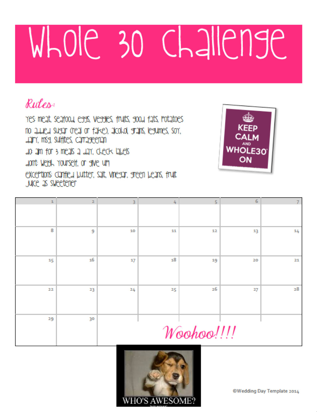 Printable Whole 30 Challenge Calendar By Weddingdaytemplate in 30 Day Calendar Template