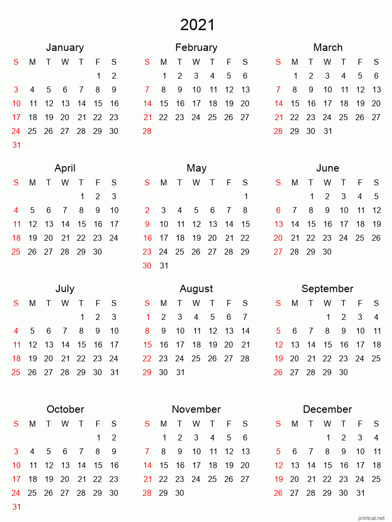 Printable Yearly Calendar 2021, Fullyear | Free Printable for 3 Month Printed A3 Calendar 2021