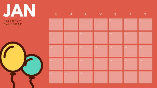 Red Balloons Illustrations Birthday Calendar  Templates intended for Birthday Calendar Template For Classroom
