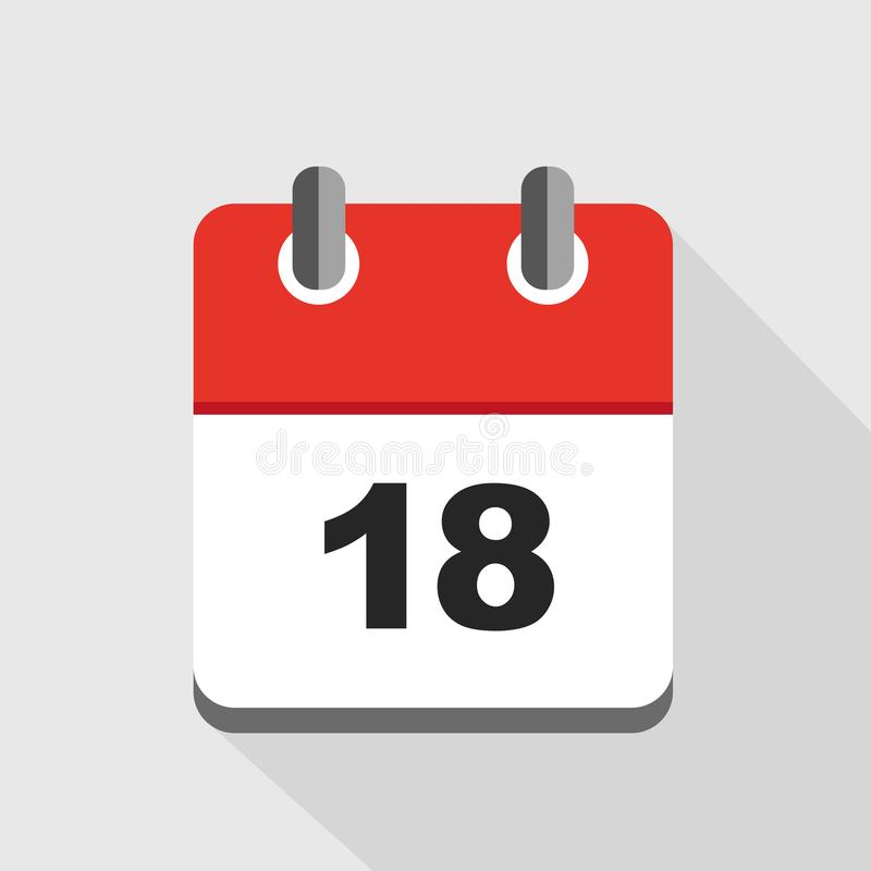 Red Calendar  Vector Icon Number 18 Stock Vector in Calendar Icon Red