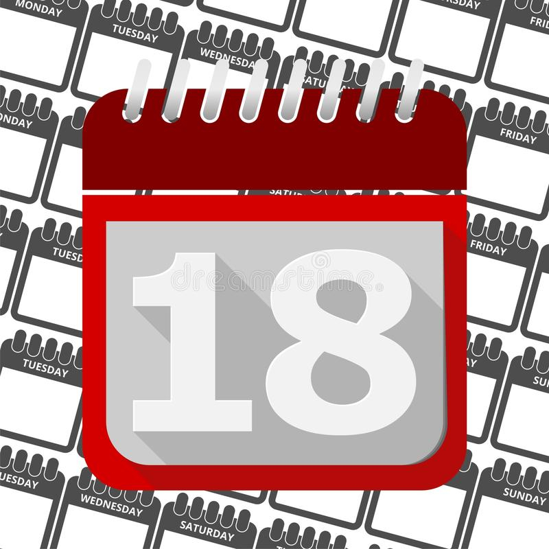 Red Calendar  Vector Icon Number 18 Stock Vector with Calendar Icon Red