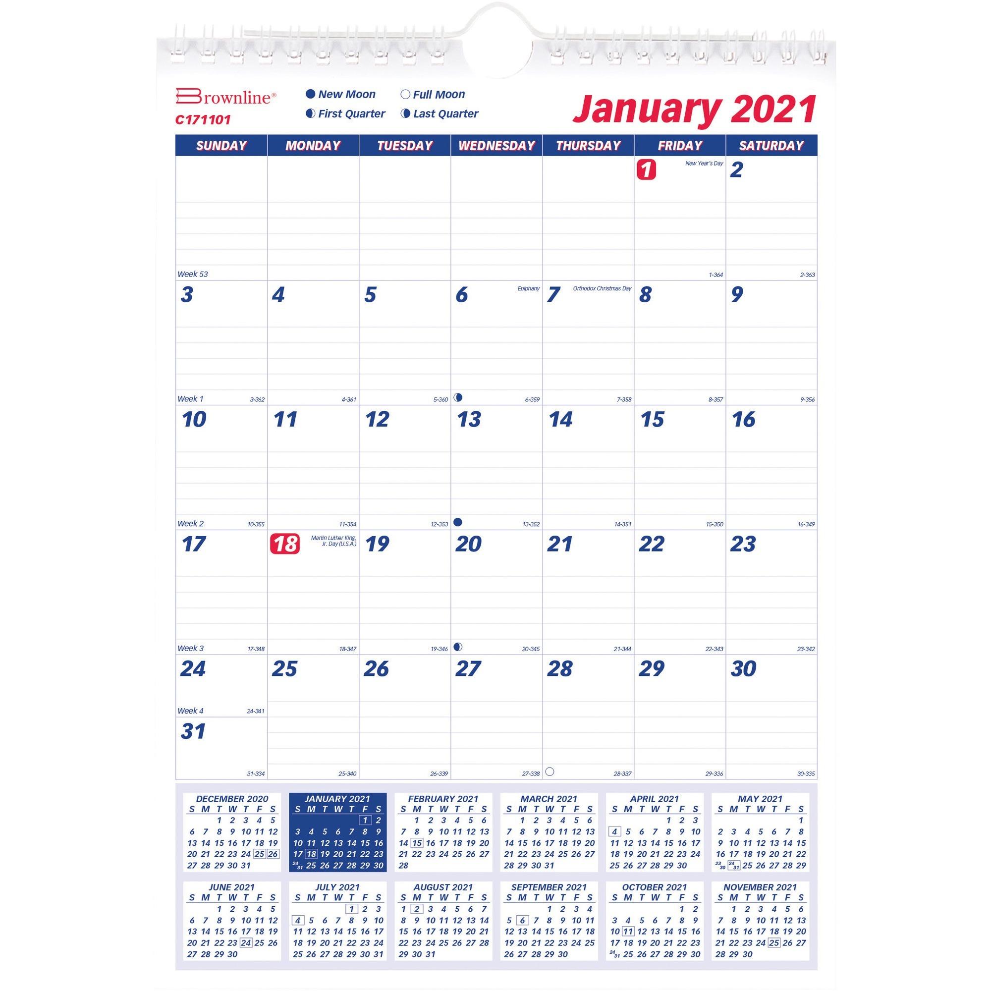 Rediform Ruled Block Monthly Wall Calendar  Academic inside 2021 Yearly Julian Calendar