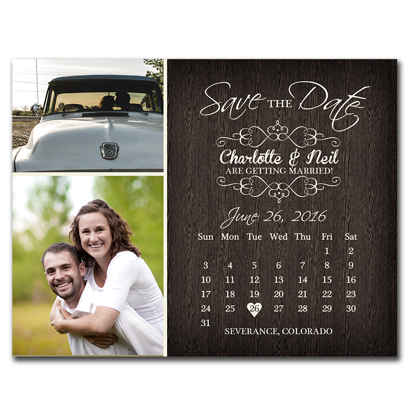Rustic Calendar Savethedate Postcard  The Print Cafe pertaining to Please Save The Date In Your Calendar