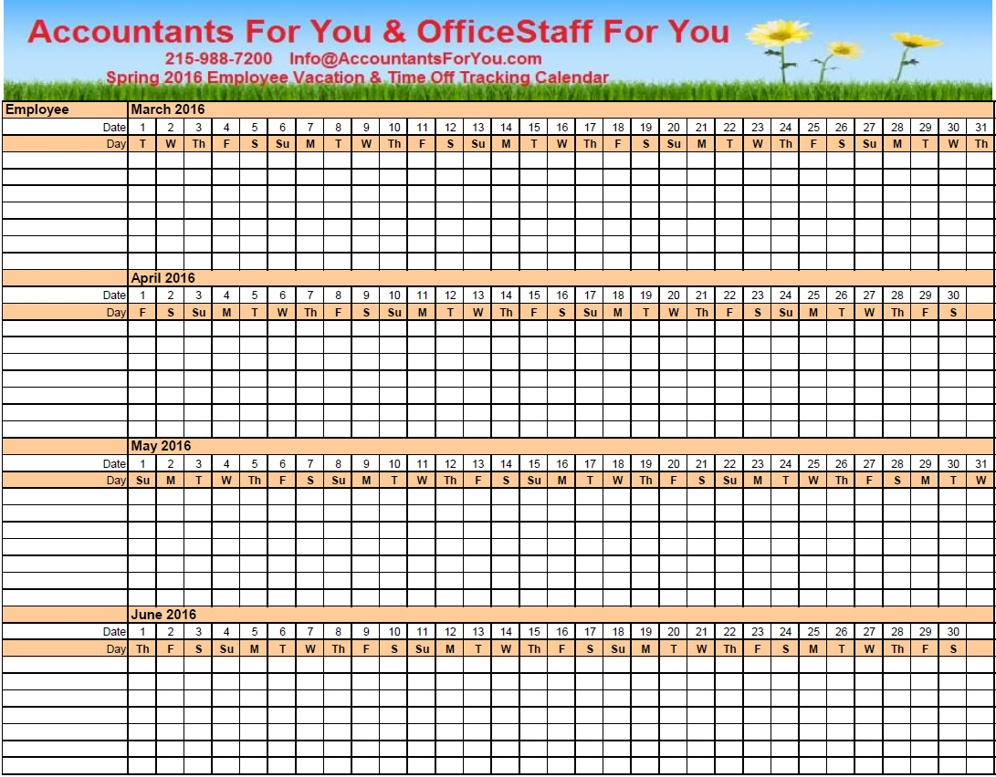 Sample, Example & Format Templates: Employee Vacation with Employee Vacation Calendar Excel