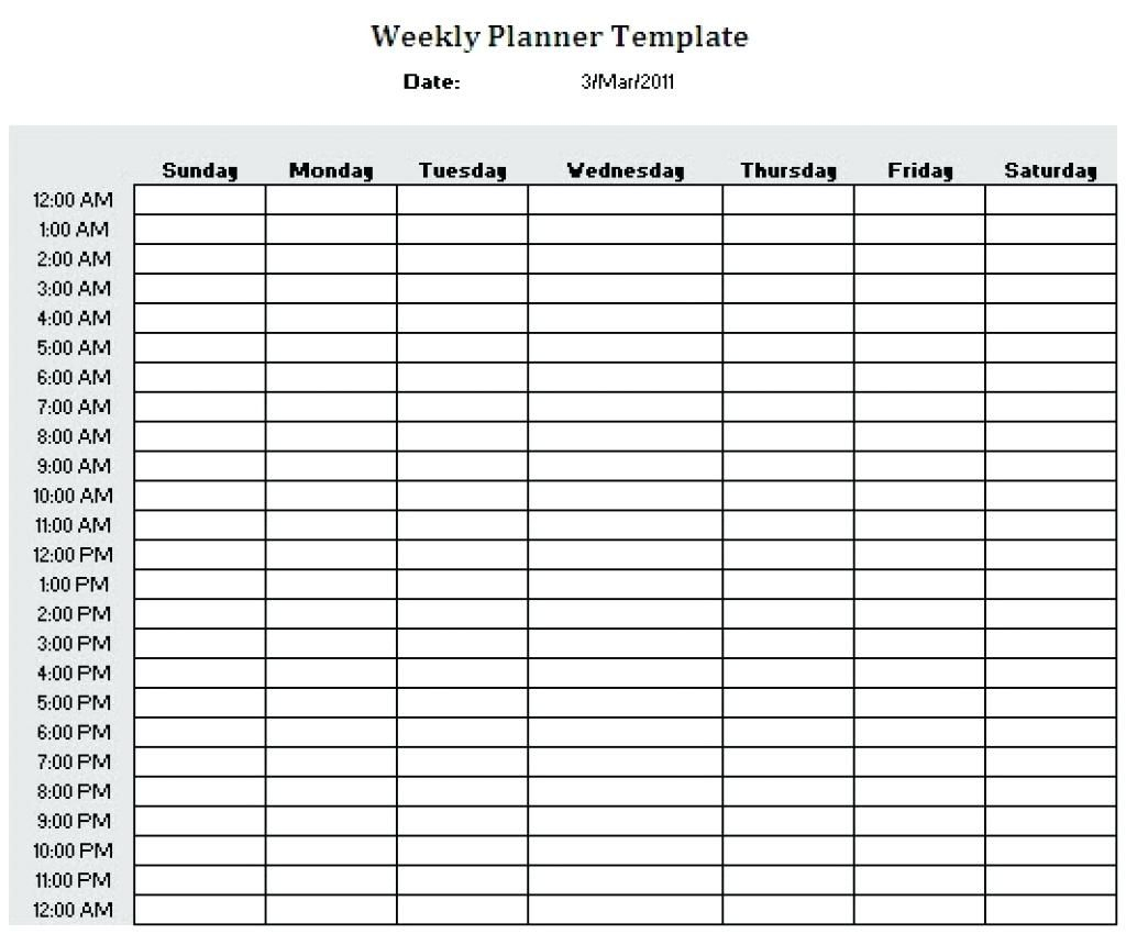 Schedule Template Printable Weekly Plannerhour Download intended for Weekly Hourly Planner Free Printable