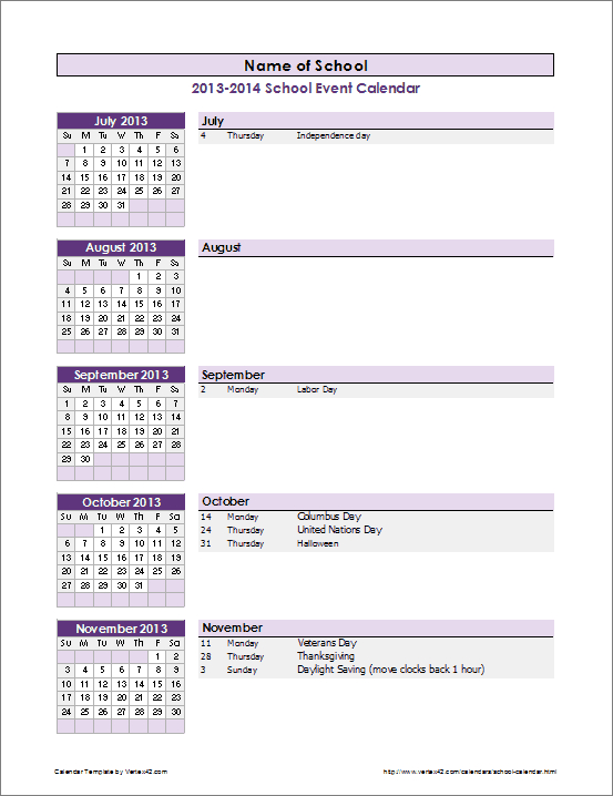 School Calendar Template  20202021 School Year Calendar within Yearly Event Calendar Template Excel