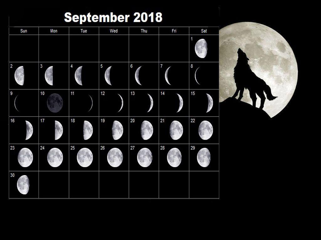 September 2018 Moon Calendar Free Printable | Full Moon with regard to Calendar 12 Moon Phases