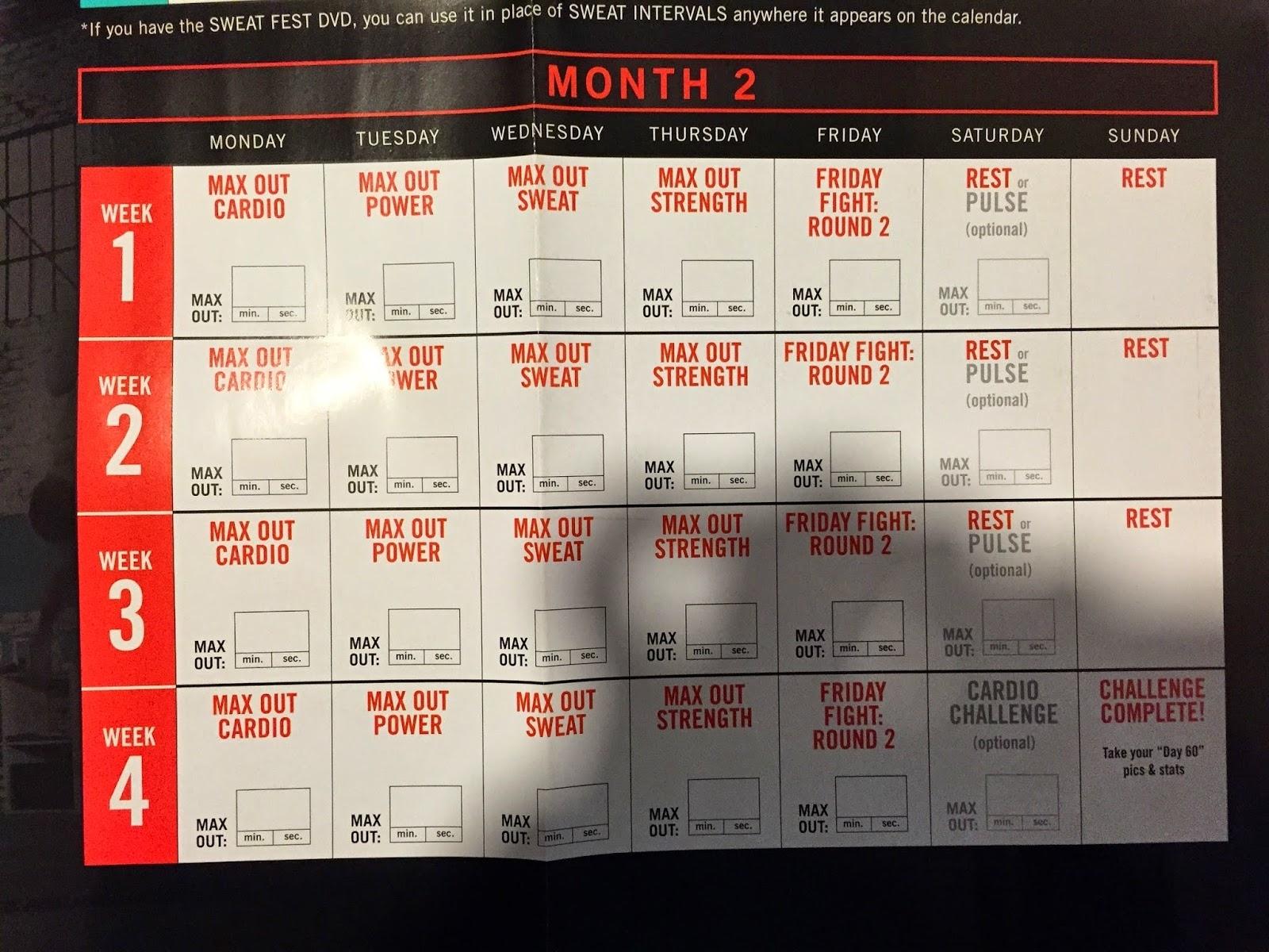 Shaun T Insane Abs Calendar Schedule  Calendar inside Printable Insanity Max 30 Calendar