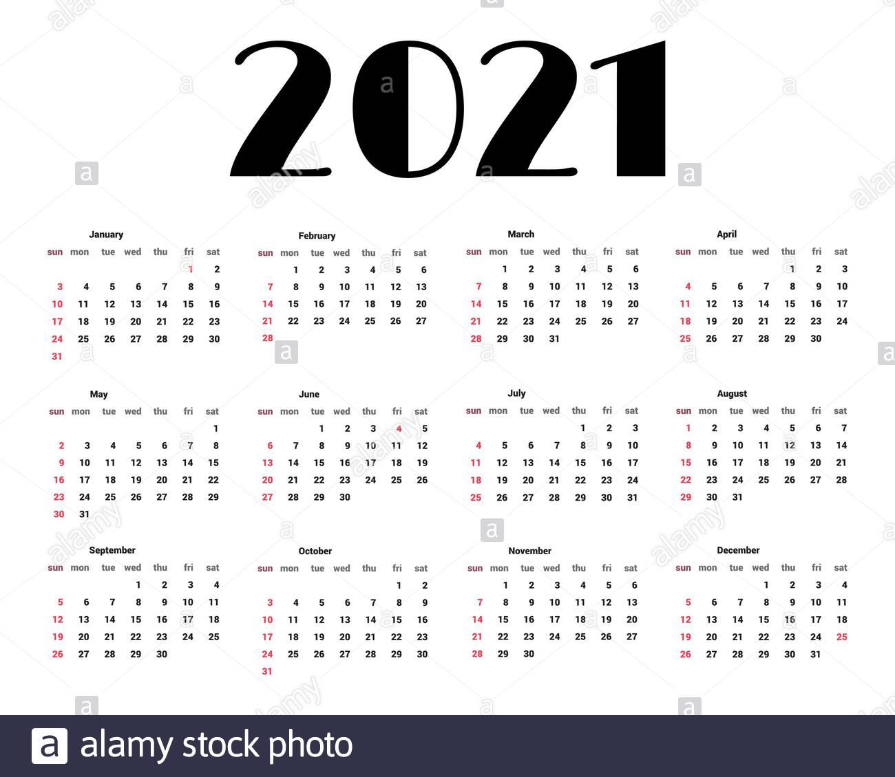 Simple 2021 Year Calendar Week Imágenes De Stock & Simple inside Calendario 2021 Con Semanas