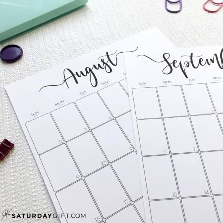 Simple & Elegant Vertical 2021 Monthly Calendar  Pretty intended for 3 Month Printable Calendar Templates 2021 Sept