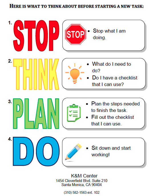 Stop, Think, Plan, Do  Mantra For Executive Functioning with Executive Functioning Activity Worksheets