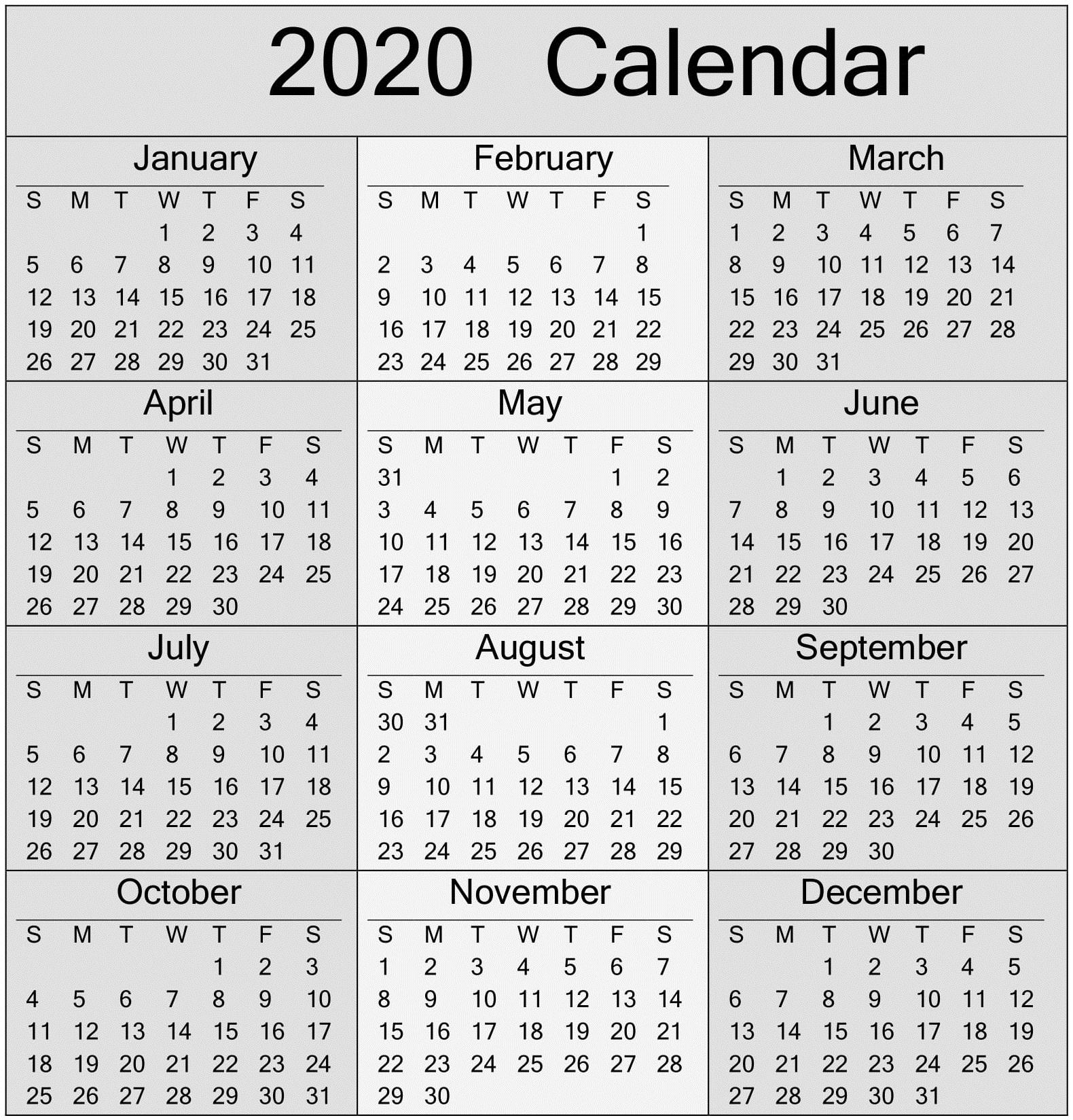 Sunday To Saturday Calendar 2020 Printable   Calendar pertaining to Calendar Sunday To Saturday