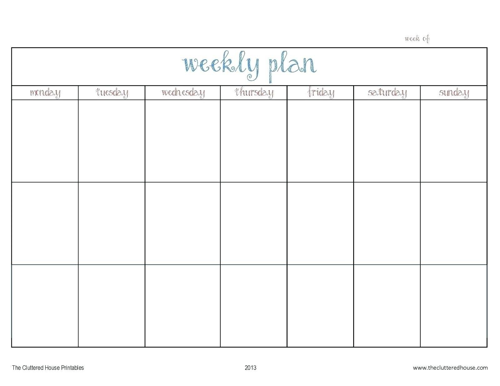 Template For Monday To Friday | Example Calendar Printable inside Free Monday Through Friday Calendar Template