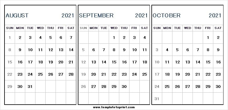 Three Month Calendar August To October 2021  2021 pertaining to 3 Month Printed A3 Calendar 2021