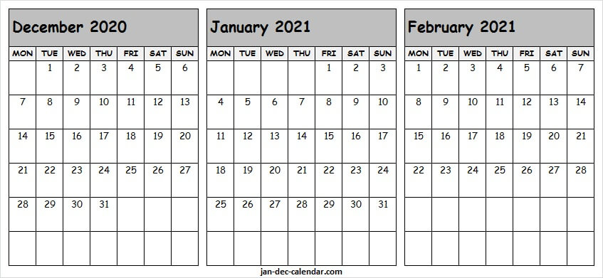 Three Month Calendar December 2020 To February 2021 intended for 2021 3 Month Monthly Printable Calendars